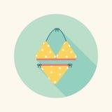 Icona piana del vestito di nuoto con ombra lunga Fotografia Stock Libera da Diritti