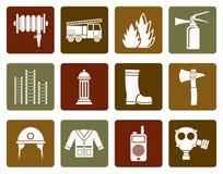 Icona piana dell'attrezzatura del vigile del fuoco e della fuoco-brigata illustrazione vettoriale