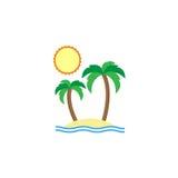 Icona piana dell'isola, turismo di viaggio, Immagini Stock Libere da Diritti