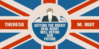 Icona piana dell'uomo con la citazione di Theresa May Fotografia Stock Libera da Diritti