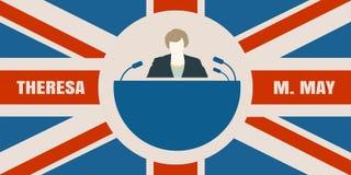 Icona piana dell'uomo con la citazione di Theresa May Immagini Stock Libere da Diritti