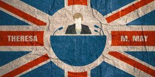 Icona piana dell'uomo con la citazione di Theresa May Fotografie Stock Libere da Diritti