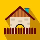 Icona piana della casa dell'azienda agricola illustrazione di stock