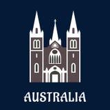 Icona piana della chiesa australiana della cattedrale Fotografia Stock Libera da Diritti