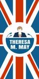Icona piana della donna con la citazione di Theresa May Immagine Stock