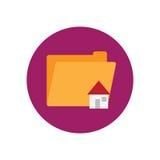 Icona piana della home directory Bottone variopinto rotondo, segno circolare di vettore della cartella, illustrazione di logo Fotografie Stock Libere da Diritti