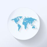 Icona piana della mappa di mondo Immagine Stock Libera da Diritti