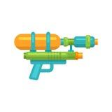 Icona piana della pistola a acqua del giocattolo Fotografie Stock