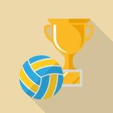 Icona piana della tazza di beach volley di progettazione Fotografie Stock