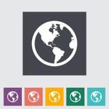 Icona piana della terra. Fotografia Stock Libera da Diritti