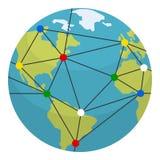 Icona piana della terra, di globalizzazione & dei collegamenti illustrazione di stock