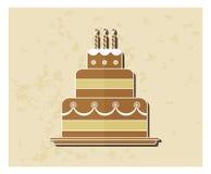 Icona piana della torta di compleanno Fotografia Stock Libera da Diritti