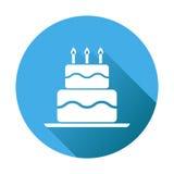 Icona piana della torta di compleanno Muffin fresco della torta sul backgrou rotondo blu Fotografia Stock Libera da Diritti