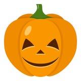 Icona piana della zucca sveglia di Halloween su bianco Immagine Stock Libera da Diritti
