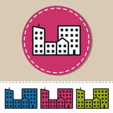 Icona piana delle costruzioni della città - illustrazione variopinta di vettore - isolata su bianco Fotografia Stock