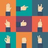 Icona piana delle mani Fotografie Stock Libere da Diritti