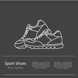 Icona piana delle scarpe con le scarpe da tennis correnti variopinte luminose Immagini Stock Libere da Diritti