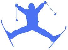 Icona piana dello sciatore blu su fondo bianco illustrazione vettoriale