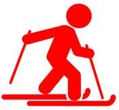 Icona piana dello sciatore rosso su fondo bianco royalty illustrazione gratis