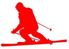 Icona piana dello sciatore rosso su fondo bianco illustrazione di stock
