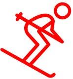 Icona piana dello sciatore rosso su fondo bianco illustrazione vettoriale