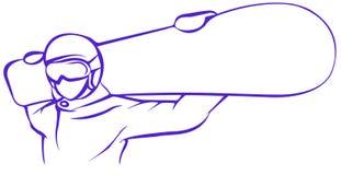 Icona piana dello Snowboarder porpora su fondo bianco illustrazione vettoriale