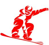 Icona piana dello Snowboarder rosso su fondo bianco royalty illustrazione gratis
