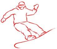 Icona piana dello Snowboarder rosso su fondo bianco illustrazione di stock