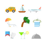 Icona piana di app di web di vacanza di viaggio di vettore: aereo dell'yacht del crogiolo di automobile Fotografia Stock