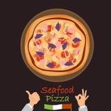 Icona piana di colore della pizza dei frutti di mare Immagini Stock