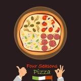 Icona piana di colore della pizza di quattro stagioni Immagini Stock