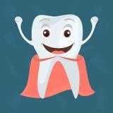 Icona piana di colore felice e sano del dente per progettazione mobile di web Fotografia Stock