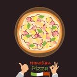 Icona piana di colore hawaiano della pizza Immagini Stock