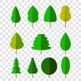 Icona piana di forma differente di vettore 11 degli alberi al fondo trasparente di effetto illustrazione vettoriale