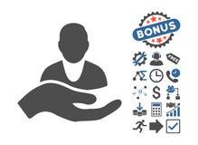 Icona piana di glifo della mano di cura del cliente con l'indennità Immagine Stock