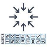 Icona piana di glifo delle frecce di pressione con l'indennità Immagine Stock