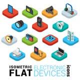 Icona piana di infographics 3d di app del cellulare di web dei dispositivi di elettronica Fotografie Stock