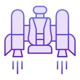 Icona piana di Jetpack Jetpack con le icone viola di una sedia nello stile piano d'avanguardia Progettazione futura di stile di p royalty illustrazione gratis
