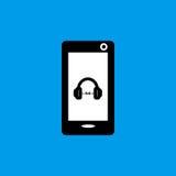 Icona piana di musica del telefono cellulare Fotografia Stock