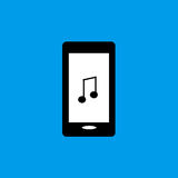 Icona piana di musica del telefono cellulare Fotografie Stock Libere da Diritti