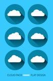 Icona piana di progettazione della nuvola messa con le ombre Immagine Stock Libera da Diritti