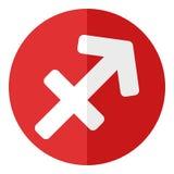 Icona piana di Sagittario del segno rosso dello zodiaco Fotografie Stock Libere da Diritti