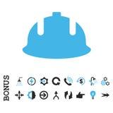 Icona piana di vettore del casco della costruzione con l'indennità Fotografia Stock Libera da Diritti