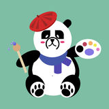 Icona piana di vettore dell'artista di Panda Bear Immagini Stock Libere da Diritti