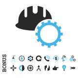 Icona piana di vettore dell'elmetto protettivo di sviluppo con l'indennità Fotografia Stock