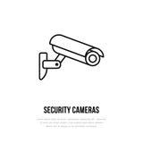 Icona piana di vettore della videocamera di sicurezza, logo del sistema di sicurezza Segno piano per la zona controllata video Immagini Stock