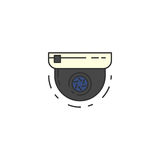 Icona piana di vettore rotondo della videosorveglianza Fotografie Stock