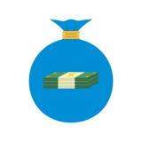 Icona piana di web Sacchetto dei soldi Fotografia Stock