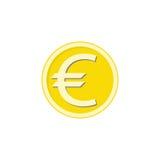 Icona piana, finanza ed affare dell'euro moneta dell'oro Fotografia Stock