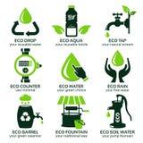 Icona piana messa per l'acqua verde di eco Fotografie Stock